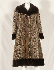60'S FRENCH VINTAGE LONG PRINT FAUX FUR COAT UK 10 SMALL 12