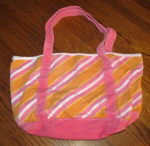 Bath and Body Works Beach Colorful Style Stripes Medium Tote Canvas Orange Pink