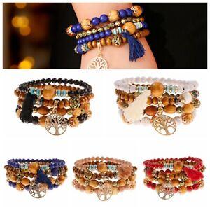 Wood Bead Beaded Stretch Bohemian Bracelet Set Women Multilayer Tassel Stackable