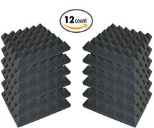 "12 Pack Acoustic Pyramid Studio Foam Sound Absorption Wall Panels 2"" X 12"" X 12"""