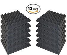 "12 Pack Acoustic Pyramid Studio Foam Sound Absorption Wall Panels 2"" X 12"" X 12"""