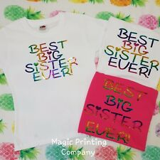 Best Big Sister Ever Girls T-shirt Top Outfit Gender Reveal party new baby GIFT