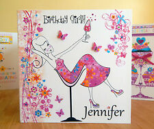 Birthday card girly girl personalised with name. Special handmade girly card