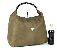 Authentic PRADA Milano Olive Nylon Hobo Shoulder Bag Hand Bag Purse Italy Large