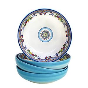 Euro Ceramica Zanzibar Collection Pasta Bowls, Set of 4, Spanish Floral Design,