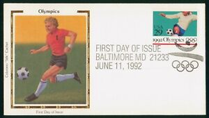 MayfairStamps US FDC Unsealed 1992 Soccer Olympics Colorano Silk First Day Cover