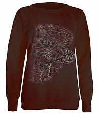 New Womens Skull Hat Sequin Detail Winter Jumpers Sweatshirt Tops 8-14