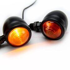 Motorcycle Black Amber Round Turn Signal Blinker Light Cafe Racer Custom Chopper