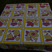 """Floral Fruit Tablecloth Yellow Red Vintage 50"""" x 45"""" Rectangle Small"""