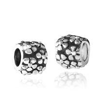 MATERIA 925 Silber Bead Spacer Blüten - Silber Beads Zwischenelement mit Blumen