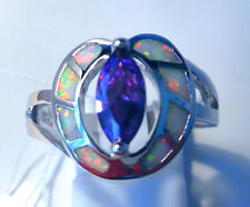 "GORGEOUS WHITE  FIRE OPAL/AMETHYST   RING UK Size ""Q"" US8.5"