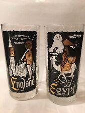 Twa Destinations Highball Glasses England & Egypt Vintage Tumbler Airline Mcm