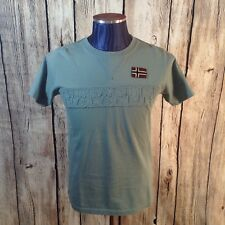 Napapijri Italy Embellished T-Shirt Solid Light Sage Green Luxury Cotton H1-52