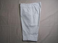 Studio 1940 Women Bermuda Shorts Sz 10 White w/Gray & Metallic Silver Pin Stripe
