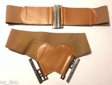 Ancho Cinturón Elástico Marrón Hebilla de Plata se adapta a todas las tallas 8-14 Ancho: 6cm para mujer dama