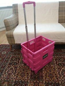 Foldable Boot Cart Shopping Trolley Fold Up Storage Box Wheels Crate Folding UK
