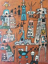 Très Beau Dessin  Craie Grasse Art Brut Outsider 1950 Surréaliste A Identifier