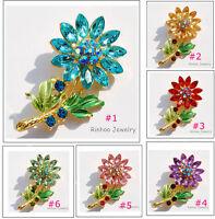 Charm SunFlower Rhinestone Crystal Brooch Pins Wedding Bridal Jewelry Gift New