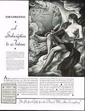1934 BIG Vintage Ernest Hamlin Baker World Globe Female Nude Art Print Ad