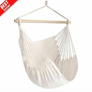Large Hammock Chair Relaxing Indoor Outdoor Swing Chairs Luxury Cotton Weave NEW