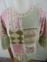 Vtg Laura Ashley Womens Sweater Size Small Fall Floral Knit Oversized