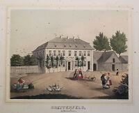 Lithografie Breitenfeld Ansicht Poenicke Schlösser & Rittergüter Sachsen um 1855