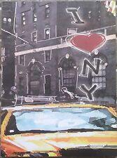 QUADRO mdf 24x18 cm NEW YORK TAXY I love NY City locale garage stile USA NUOVO