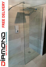 Diamond 760mm Walk In Shower Screen Wet Room Glass Panel Enclosure