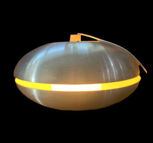 Vintage Retro 1960s Danish?  Aluminium Pendant Lamp Flying Saucer MCM Lighting
