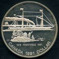 1991 Canada Frosted Proof Silver Dollar Coin (Frontenac 175th) 23.33 Grams .500