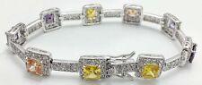 MULTI- COLOR GEMSTONES Bracelet  .925 Sterling Silver *19.8 GRAMS *FREE SHIPPING