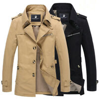 2019 Fashion Men's Winter Slim Vogue Trench Coat Long Jacket Overcoat Outwear