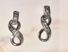 14k Solid White Gold Diamond Infinity Dangle Earrings