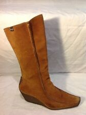 Bronx Brown Mid Calf Suede Boots Size 41