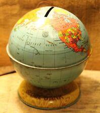 "Vintage J. Chein & Co Toys Tin Globe Coin Bank 4.5"" Tall +"
