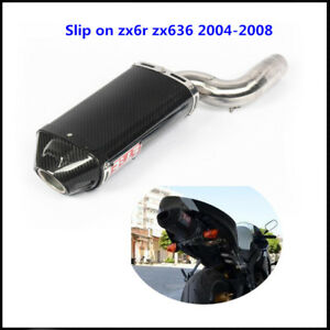 Slip on Exhaust Muffler Pipe Middle Pipe for Kawasaki Ninja ZX6R ZX636 2004-2008