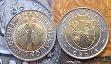 GHANA -100 Cedis 1991-1999 Bi-Metallic Brass center in Copper-nic