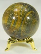 BUTW African Golden Tiger eye Lapidary 44mm Diameter SPHERE w/ FREE Stand 6609D