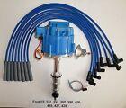 FORD FE HEI Distributor 332,352,360,390,406,427,428 + BLUE Spark Plug wires USA