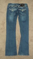 MISS ME WOMENS JEANS FACTORY DISTRESSED WITH RHINESTONES SZ 27 BOOTCUT PREOWNED