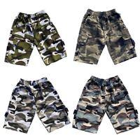Boys Kids Shorts Army Camo Camouflage Combat Cargo Summer Fashion Pockets 4-14