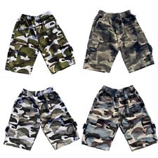 Boys Kids Shorts Army Camo Camouflage Combat Cargo Summer Fashion Pockets 4-14