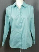 Chico's Size 1 M 8 No Iron Blouse Wrinkle Free Cotton Shirt Blue Long Sleeve
