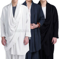 Vintage Mens Loose Casual Linen Cardigan long Chinese style coat shirt Loose Top