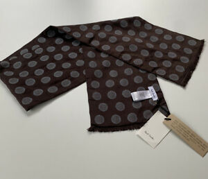 Paul Smith Men's Brown With Blue Spot SCARF 146 Cm  X 22 cm  BNWT
