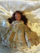 Vtg Storybook Doll w/Brown Hair, Painted Face Mark Usa Trademark Reg. Orig Dres
