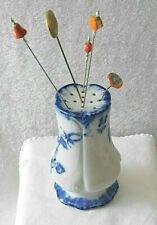 Vtg 'Victopia' Ironstone Flow Blue Hat Pin Holder & Five Vtg Hat Pins-Marked
