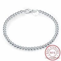 Echt 100% 925 Sterling Silber Armband Solide 4mm Perlen Kette 20cm Edlen Schmuck