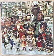 Mesafina 40 Beverage Cocktail Paper Napkins Old World Santa Vintage Christmas