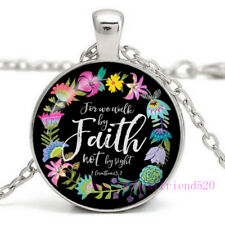 """Chain Necklace,Quote Necklace,Art Jewelry,Kids Gift """"Walk By Faith """" Pendant"""